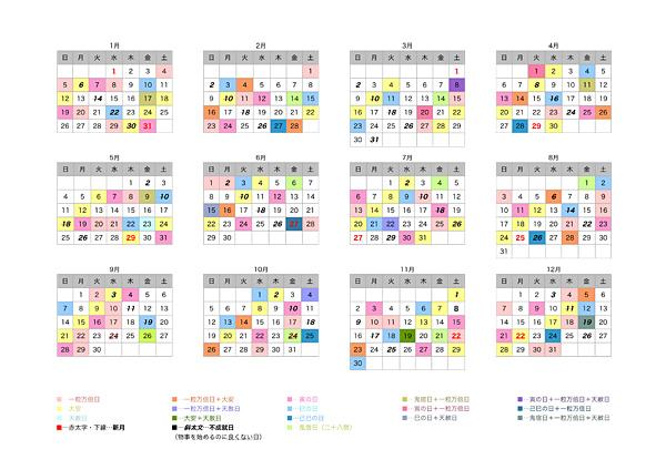 2014年 吉日まとめカレンダー