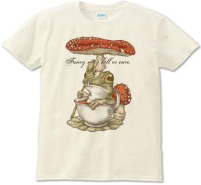 紅茶茸蛙-紅天狗茸 ベニテングダケ イラスト 蛙 カエル キノコ Tシャツ