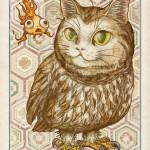 无域図録-猫ミミズク フクロウ 猫 イラスト ネコ 金魚 梟