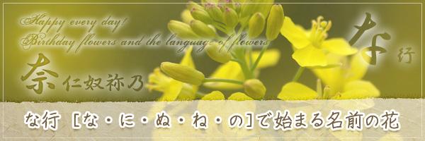 な行から始まる名前の花の花言葉・誕生花